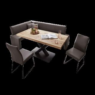 K+W Silaxx Essgruppe Escape 4062 vierteilig bestehend aus einer zweiteiligen Eckbank zwei exklusiven Stühlen mit Rundrohrkufen aus der Modellreihe 6017 mit einem exklusiven Echtlederbezug Casay in der Farbe canyon 80 und einem hochwertigen Esstisch in Bal