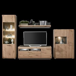 Ideal-Möbel Wohnwand Kombination Austin 40 bestehend aus Vitrine Wandpaneel TV-Schrank sowie Highboard Breite ca. 322 cm