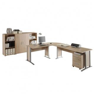 Bega Consult Office Line Büro Set 5-teilig in Sonoma-Eiche-Dekor bestehend aus Winkelschreibtischkombination inklusive Rollcontainer und Highboard Kombination 2-türig
