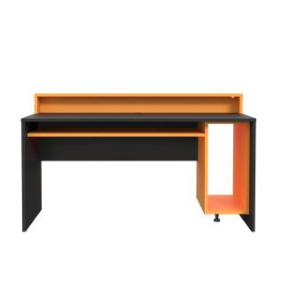 Forte Tezaur Computertisch mit Arbeitsplatte ca. 160 x 69 cm mit zwei offenen Fächern Schreibtisch im Dekor Schwarz matt und Orange