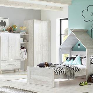 Röhr-Bush cottage Kinderzimmer 4-teilig bestehend aus Liegenbett mit Liegefläche 90 x 200 cm mit Spielhaus, Kleiderschrank 2-türig und Stauraumtype