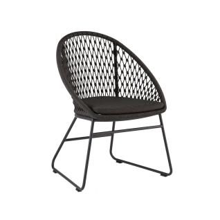 Niehoff Garden Kuta Stuhl G371-100-140 Gartenstuhl mit Schlittengestell in Aluminium Anthrazit und Sitzschale in Kordelflechtung grau in Rautenoptik inkl. Sitzkissen charcoal für Ihren Garten