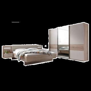 Schlafkontor Lissabon Schlafzimmer bestehend aus einem Bett inkl. Nachtkommoden mit Paneel und LED-Beleuchtung sowie einem 3-türigen Schwebetürenschrank optional mit Passepartout inkl. LED-Beleuchtung