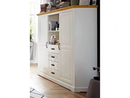 Niehoff Sitzmöbel Malmö Highboard 2244 mit Korpus in Lack weiß und Abdeckplatte in Wildeiche Massivholz Anrichte mit Schubkästen und Türen ideal für Ihr Wohnzimmer oder Esszimmer