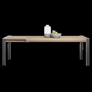 Habufa Brooklyn Esstisch mit Auszug Tischplatte in Eiche furniert Metallbeine schwarz im Industrie Stil