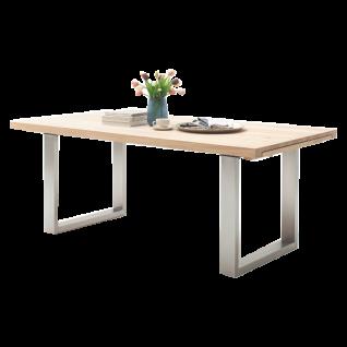 MCA furniture Esstisch Dayton Tischplatte Massivholz geölt durchgehender Lamelle Sychronauszug und Gestell Edelstahl für Ihr Esszimmer Größe wählbar