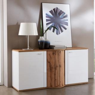 Ideal-Möbel Magic Sideboard 51 mit Drehkarussel und zwei Türen Korpus Weiß Front Weiß Hochglanz Absetzung Wotan Eiche Nachbildung - Vorschau 3