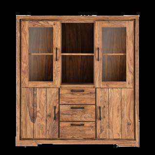 Sit Möbel SANAM Highboard mit Glastüren und Holztüren aus Sheesham Holz massiv