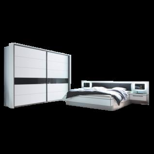 Schlafkontor Turin Schlafzimmerset bestehend aus einem 2-türigen Schwebetürenschrank und einer Bettanlage inkl. 2 Nachtkommoden und Paneel mit Glasablage sowie LED Beleuchtung