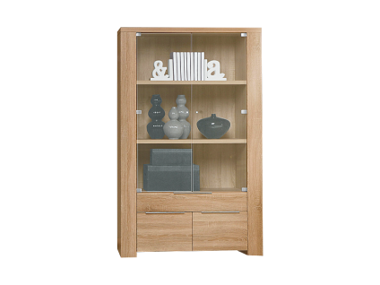 FORTE Calpe Vitrine CLPV85 mit zwei GLastüren einem Schubkasten und zwei Türen für Ihr Wohnzimmer oder Esszimmer Dekor wählbar