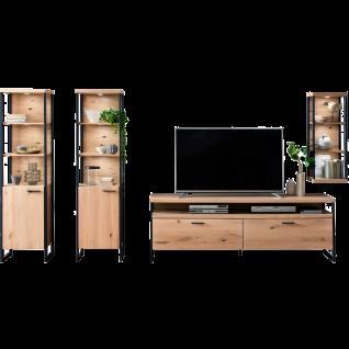 MCA furniture Wohnwand 2 Salerno Art.Nr. SAO14W02 Ausführung Balkeneiche Bianco Massivholz mit Lamellen / Eiche Bianco furniert Beleuchtung optional