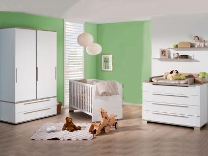 Paidi Carlo Babyzimmer 4-teilig Kinderbett Airwell-Comfort Lattenrost Kommode 4 Schubkästen Wickelaufsatz Schiebetürenschrank 2 Türen 2 Schubkästen - Vorschau 2