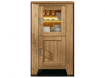 SKALIK Living Loft Highboard in Wildeiche Massivholz geölt und gewachst montiert Art Nr 15519441 mit 1 Glastür und 1 Holztür ideal für Ihr Wohnzimmer