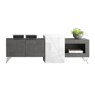 Forte Jalida Lowboard JLDT145R für Ihr Wohnzimmer TV-Unterteil mit drei Türen und einem offenen Fach Korpus Betonoptik Dunkelgrau kombiniert mit Weiß Front Weiß Glanz