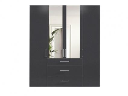 Nolte Express Möbel One 200 Drehtürenschrank 4-türig Mitteltüren mit Spiegelauflage und 3 Schubkästen mittig Korpus und Front in Graphit