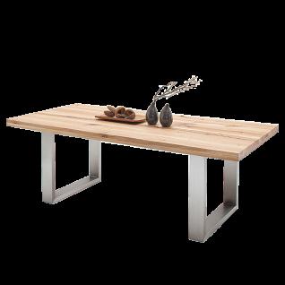 MCA furniture Esstisch Castello mit massiver Tischplatte aus Wildeiche Kufengestell aus Edelstahl Kufentisch in 5 Größen