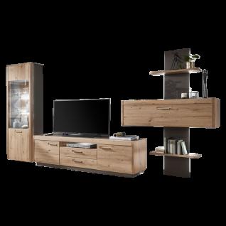 Ideal-Möbel Wohnwand Austin Kombination 57 bestehend aus einer Vitrine einem TV-Unterschrank und großem Wandregal