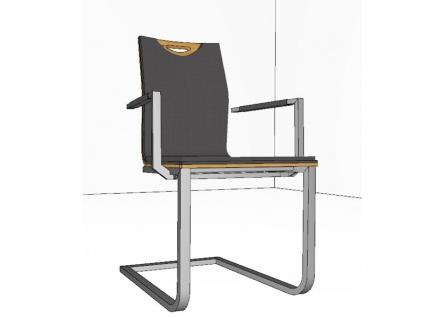 Stuhl Lena von Gwinner Schwingstuhl Stuhl 197 mit Griff und Armlehnen Flachrohr Freischwinger für Esszimmer mit furniertem Sichtholzrücken Ausführung und Bezug wählbar