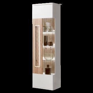 Ideal-Möbel Falan Vitrine Type 01 für Ihr Wohnzimmer oder Esszimmer moderne Standvitrine mit einer Göastür Korpus in Weiß mit Absetzungen in Eiche Artisan Folie inkl. integrierter LED-Beleuchtung in der Tür