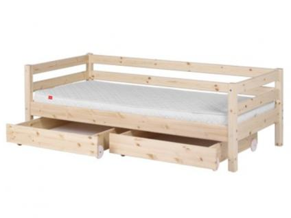 Kinderbett Flexa Classic Einzelbett 90x200 cm mit hinterer Absturzsicherung 2 Schubladen mit Griffen und Lattenrost Kiefer massiv Flexa4Dreams