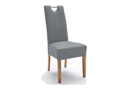 MCA Direkt Stuhl Enya Bezug Strukturoptik eisgrau 2er Set Polsterstuhl für Wohnzimmer und Esszimmer Ausführung 4 Fuß Massivholzgestell und Chromgriff
