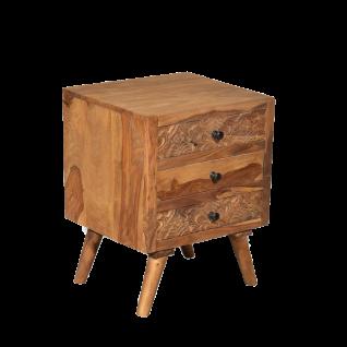Sit Möbel CARVED Nachttischschrank massiv aus Sheesham Holz mit filigranen Schnitzereien