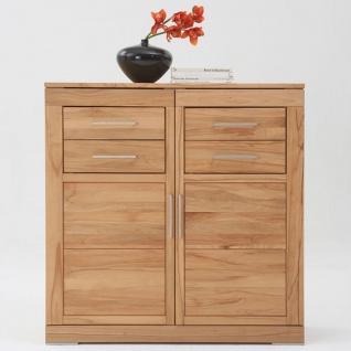Wimmer Casera Highboard 2-türig mit 4 Schubkästen Korpus und Front Massivholz naturbelassen geölt Holzausführung Griffausführung wählbar für Ihr Wohnzimmer oder Esszimmer