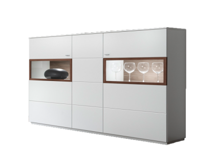 Quadrato Milano Highboard 411N7048 oder 411E7048 in weiß mit wählbarer Absetzung Anrichte für Wohnzimmer oder Esszimmer mit 3 Türen Beleuchtung wählbar