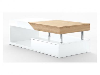 MCA Furniture Hope Couchtisch Art.Nr.: 58229WE6 in weiß Lack Hochglanz mit Schubkasten und Deckplattenauszug in Eiche sägerau für Ihr Wohnzimmer