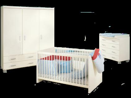 Paidi Biancomo Babyzimmer bestehend aus 3-türigen Kleiderschrank mit 2 Schubkästen Wickelkommode mit 4 Schubkästen und Kinderbett 70x140 cm in Ecru