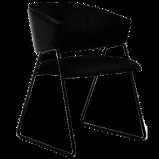GWINNER Style Stuhl 530 mit Leder-Bezug Toledo nero und Gestell in Metall anthrazit pulverbeschichtet