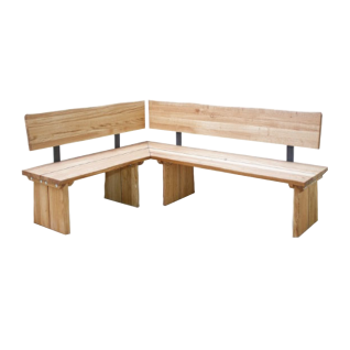Schösswender Oviedo Eckbank ca. 151 x 201 cm oder ca. 201 x 151 cm in Wildeiche geölt Massivholz Gestell mit Baumkante Bank ideal für Ihr Esszimmer