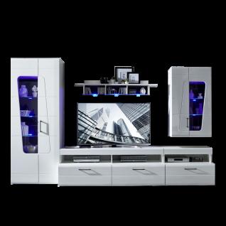 Innostyle Wohnwand Spirit Plus 10H3WW80 Front weiß Hochglanz MDF Korpus weiß matt sichtbare Rückwände schwarz für Ihr Wohnzimmer