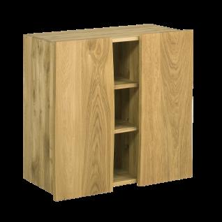 Skalik Meble Woodline Flur Kommode Höhe wählbar Front und Korpus Eiche Massivholz geölt mit individueller Baumkante