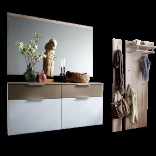 Wittenbreder Stelvio Garderobenkombination Nr. 03 komplette Garderobe für Ihren Flur und Eingangsbereich 4-teilige Vorschlagskombination im Dekor Kronberg Eiche Weiß Glas und Hellbraun Glas