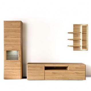 MCA Furniture Florenz Wohnkombination 2 für Ihr Wohnzimmer 3-teilige Wohnwand mit Vitrine Lowboard und Wandregal Kombination in Grandson Oak Nachbildung Beleuchtung wählbar