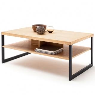 MCA furniture Couchtisch Art.Nr. SAO14T65 Tischplatte und Ablage Eiche Bianco furniert geölt Gestell Metallrahmen Schwarzgrau