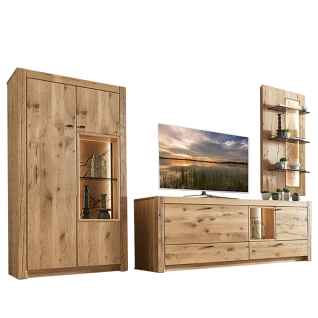 Wöstmann WM1830 Wohnkombination 0003 Korpus und Front Kerneiche Massivholz mit wählbaren Akzenten bestehend aus TV-Bank einem Hängepaneel mit 3 Glasböden und 2-türigem Highboard