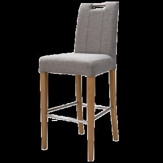 Standard Furniture Tresenstuhl Thao Gestell aus Massivholz mit Edelstahl Verstrebung Holzausführung sowie Bezug wählbar