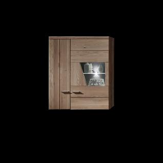 Wohn-Concept Rubino Hängevitrine 42 07 HH 10 in Artisan Eiche mit Absetzungen in Betonoxid dunkel für Ihr Wohnzimmer Vitrine links Hängeelement mit einer Tür und einer Glas-/Holztür Front Massivholz Korpus Nachbildung Beleuchtung wählbar