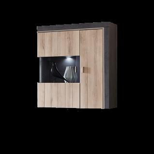 Ideal-Möbel Ribeira Hängevitrine Type 22 mit einer Glastür und einer Holztür für Ihr Wohnzimmer oder Esszimmer moderne Vitrine mit Korpus in Oxid Melamin Absetzung in MDF Profill ummantelt und Front in Kronberg Eiche hell Folie
