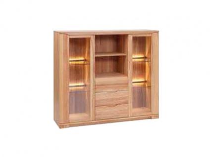Dkk Klose Kollektion K12 Kastenmöbel Highboard 3tlg. Kommode mit Riffelapplikation für Wohnzimmer oder Esszimmer Ausführung und Beleuchtung wählbar
