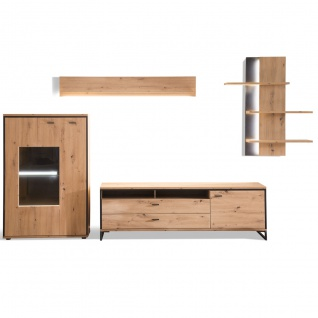 MCA furniture Wohnwand 2 Buenos Aires Art.Nr. BUA1QW02 Front Balkeneiche tiefzieh NB Korpus Balkeneiche Melamin NB Korpusabsetzung Metall anthrazit