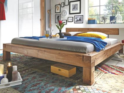 TPT Möbel GmbH Balkenbett I aus Massivholz Wildeiche geölt Liegefläche wählbar optional mit Nachkommoden