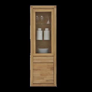 Elfo-Möbel Delft Vitrine 6203 mit 1 Schubkasten 1 Tür und 1 Glastür Massivholz in Kernbuche Beimöbel für Wohnzimmer Esszimmer oder Arbeitszimmer