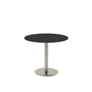 Niehoff Garden Bistro Gartentisch G523 mit runder Tischplatte aus HPL und mit Säulengestell in Edelstahl gebürstet Runtisch in wählbarer Größe und HPL-Ausführung für Ihren Garten