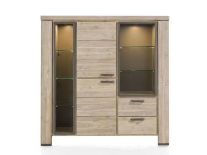 Habufa Coiba Highboard mit 2 Türen 2 Schubladen und 7 Nischen inklusive LED Beleuchtung für Ihr Wohnzimmer oder Esszimmer