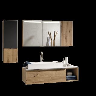 Voglauer V-Alpin Badezimmerkombination 5-teilig mit Spiegelschrank Oberschrank Waschtisch, Highboard und Waschtischunterschrank sowie Front- und Waschplatzbeleuchtung - Korpus und Front Alteiche rustiko echtholzfurniert mit Frontabsetzung Glas anthrazit