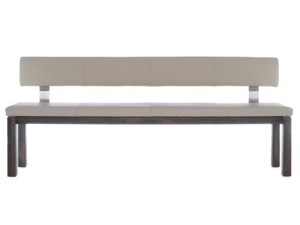Wimmer Einzelbank Geoma 4-Fuß-Gestell Rückenlehne mit Lederbezug Sitz und Rücken fest gepolstert Holzausführung Bezugsfarbe und Länge wählbar Bank für Ihr Esszimmer oder Ihre Küche