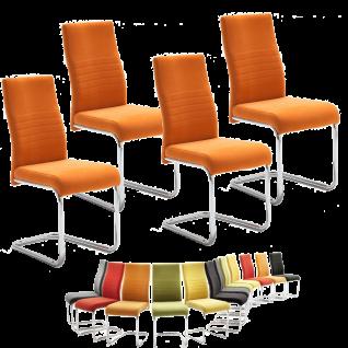 MCA furniture Schwingstuhl JONAS 4er-Set - Rundrohr-Gestell verchromt Bezugfarbe wählbar Stuhl für Ihr Esszimmer